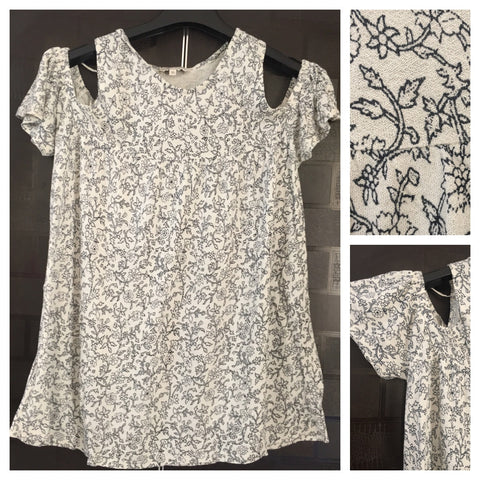 Cream and Darkest Green Printed Cold Shoulder Top.