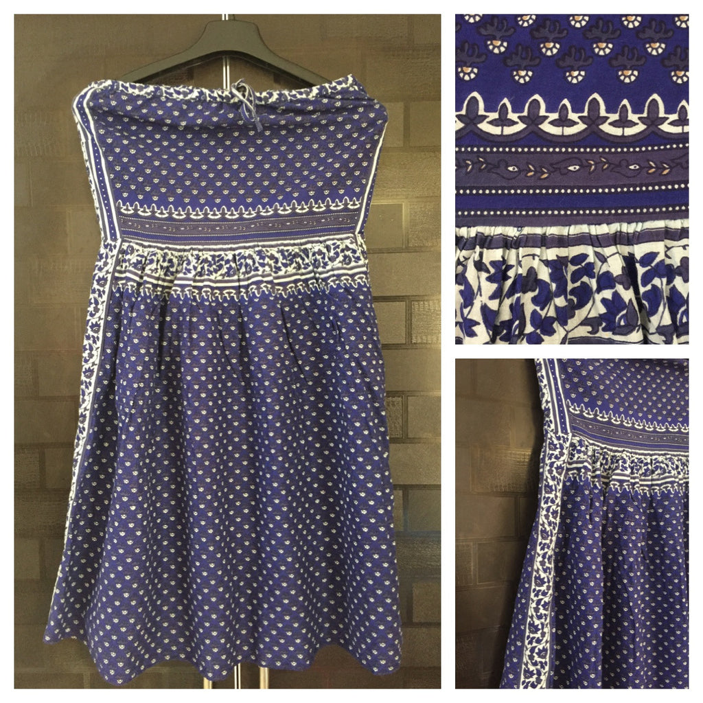 Blue and White Cute Tube Dress with Floral side Panel - #FTFY - For The Fun Years