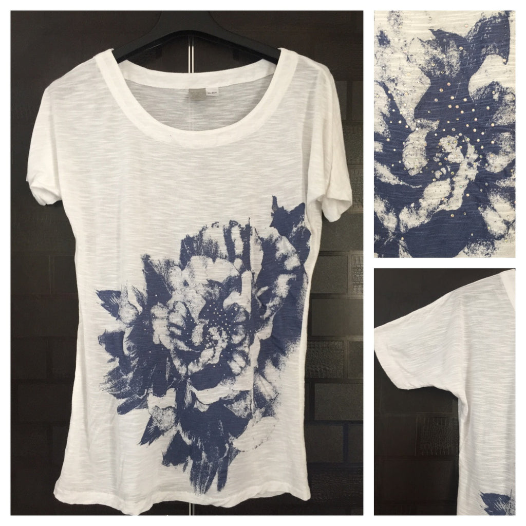 Casual White Tee with Blue Flowers