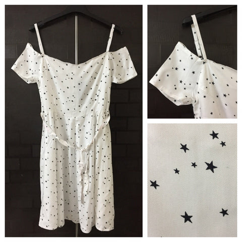 Cold Shoulder, Flared Dress with back zipper - White with black stars
