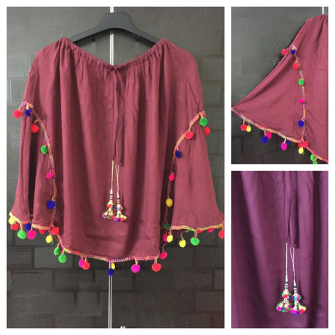 Stylish Colorful Pom-poms Poncho Top - Brown