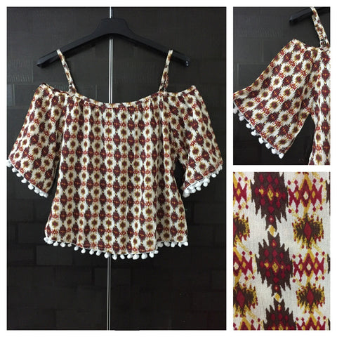 Beautiful Cream Cold - Shoulder top with red-brown-yellow Prints, Pom Poms