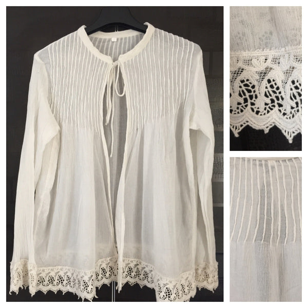 Pretty front tie Shrug with lace on sleeves and waist