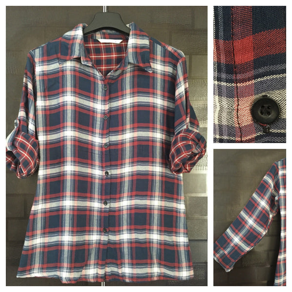 Little Warm - Double Layered, Blue - Red and White Shirt