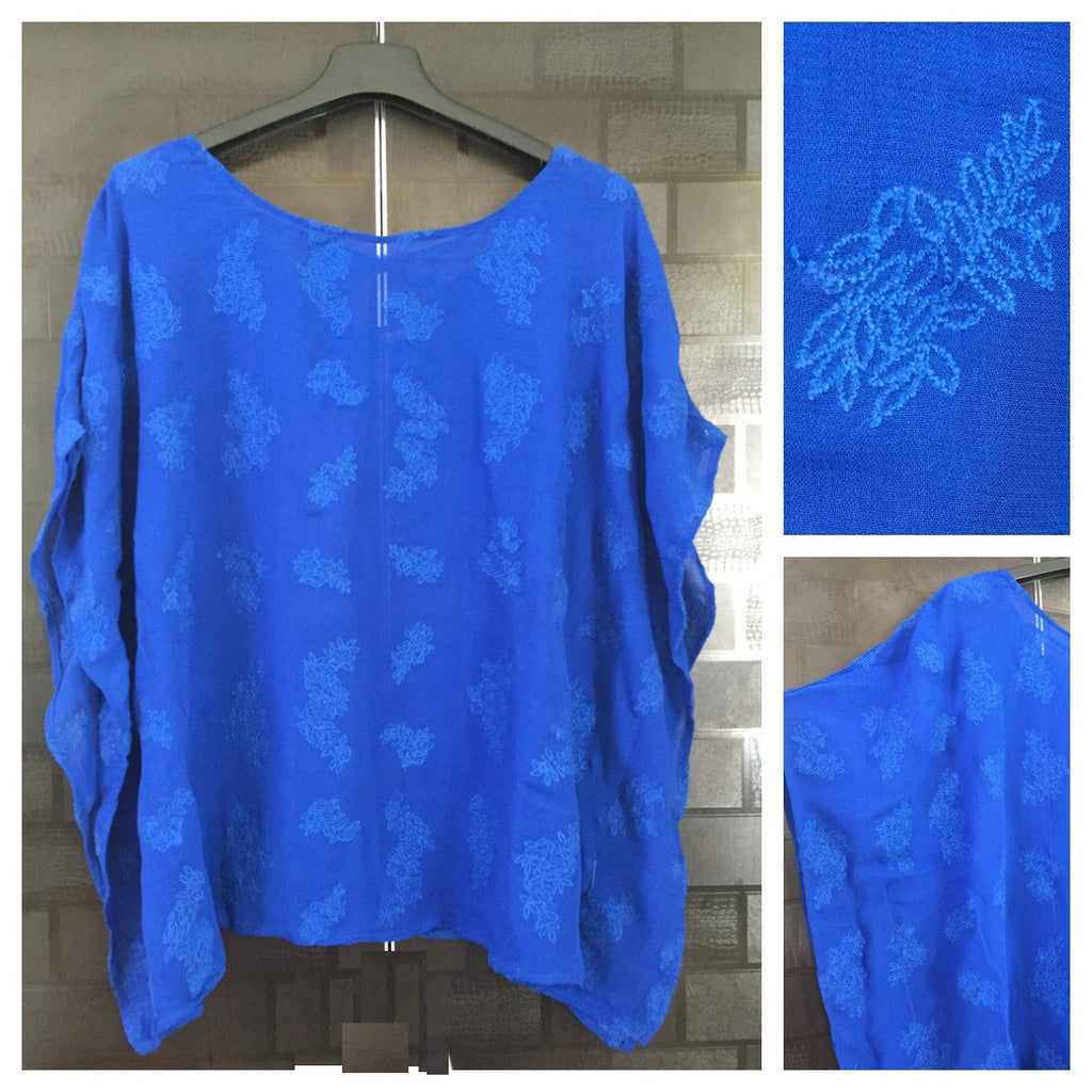 Blue Kaftan Style Top with Blue thread-work - #FTFY - For The Fun Years