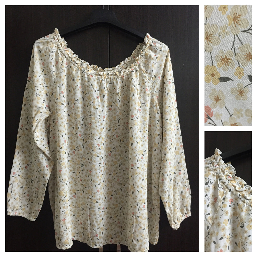 Light Yellow, On - Off Shoulder Floral Top