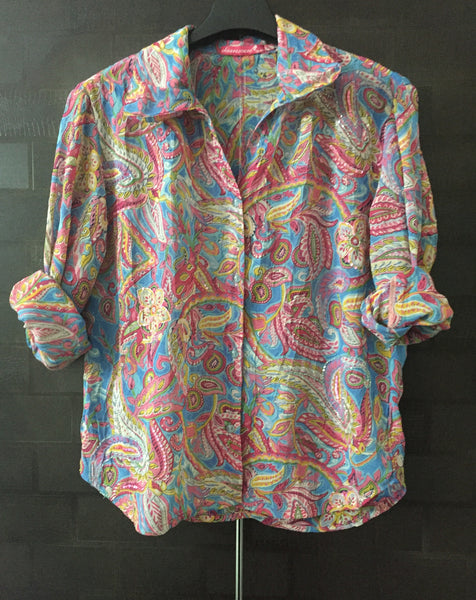 Casual Multicolor Printed Shirt with Sequin Design