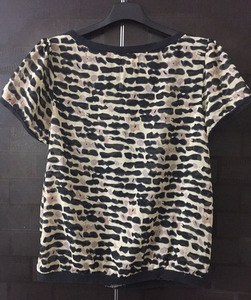 Black and Brown Printed, Casual Top. Translucent