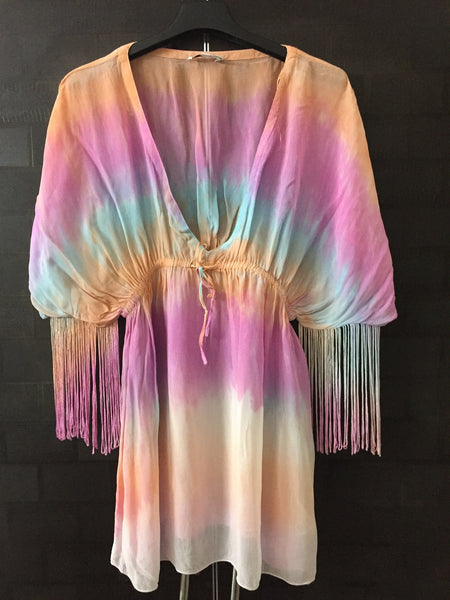 Pretty Multicolor Top with deep neck and Tassels