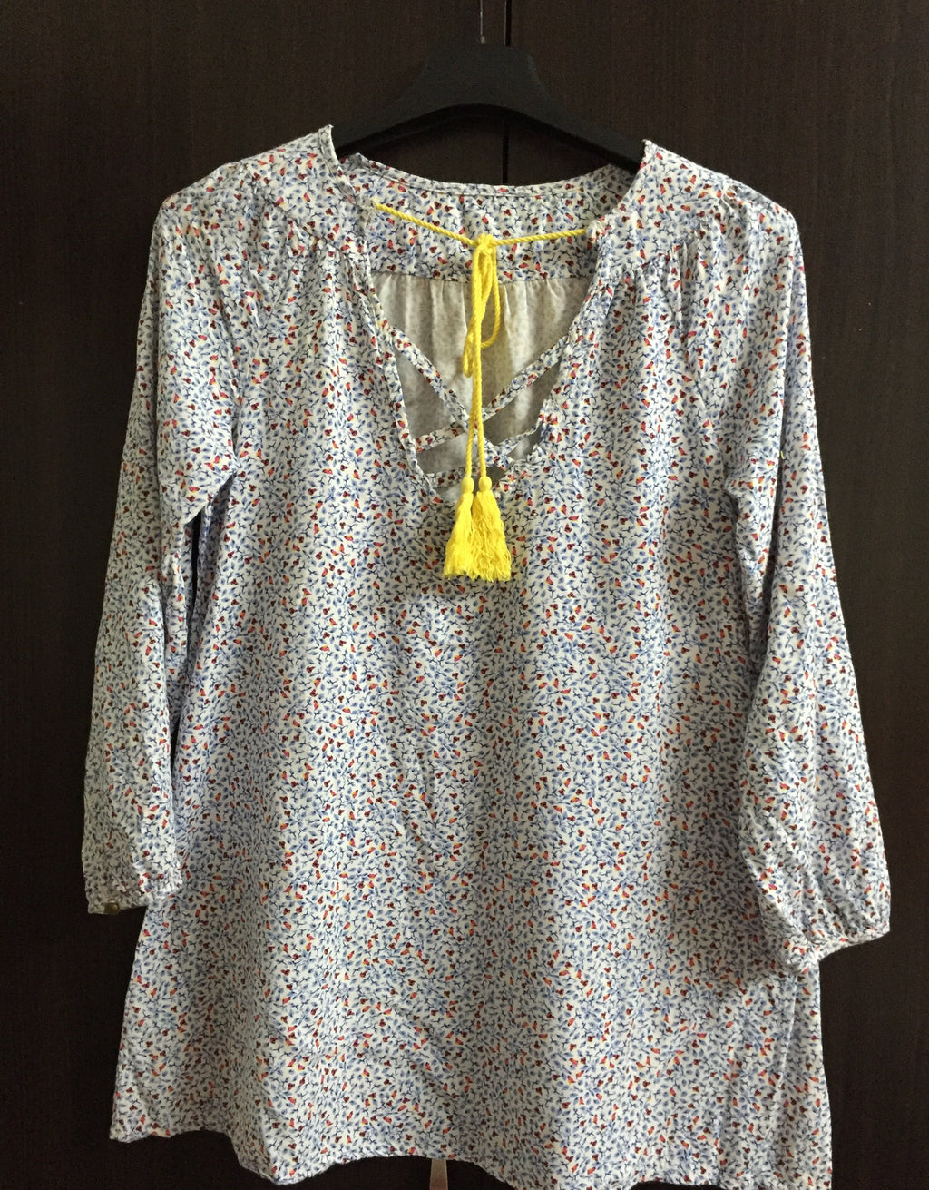 Floral White Full Sleeves top with Yellow String