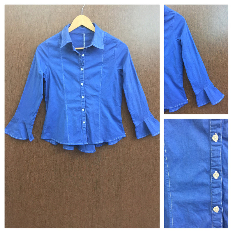 Back Criss Cross Knot - Little Stretchable Blue Shirt