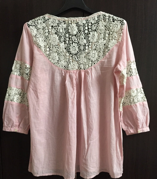 Pretty Pink Cotton and Net Top