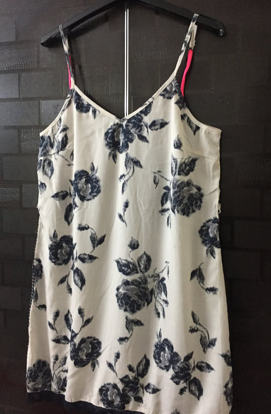 Front Floral, Back - Black Printed Spaghetti Dress