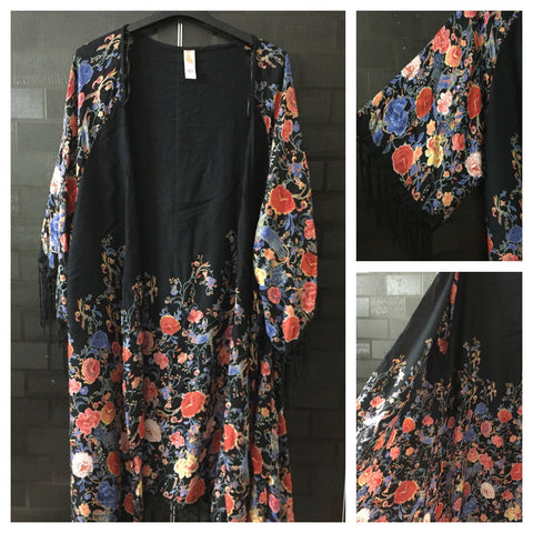 Gorgeous Tasseled,Pink &Orange Floral Long causal Shrug