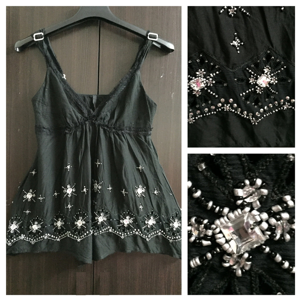 Stylish Black cut work & Sequin Spaghetti Top