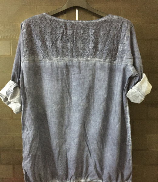 Washed out Blue top with net on neck