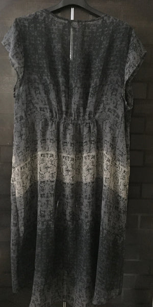 Grey - Black Printed, Tunic Style Shrug