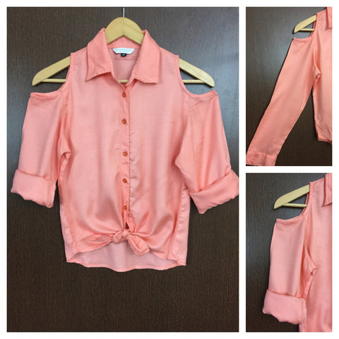 Elegant Plain Cold Shoulder Shirt with Front Knot - Peach
