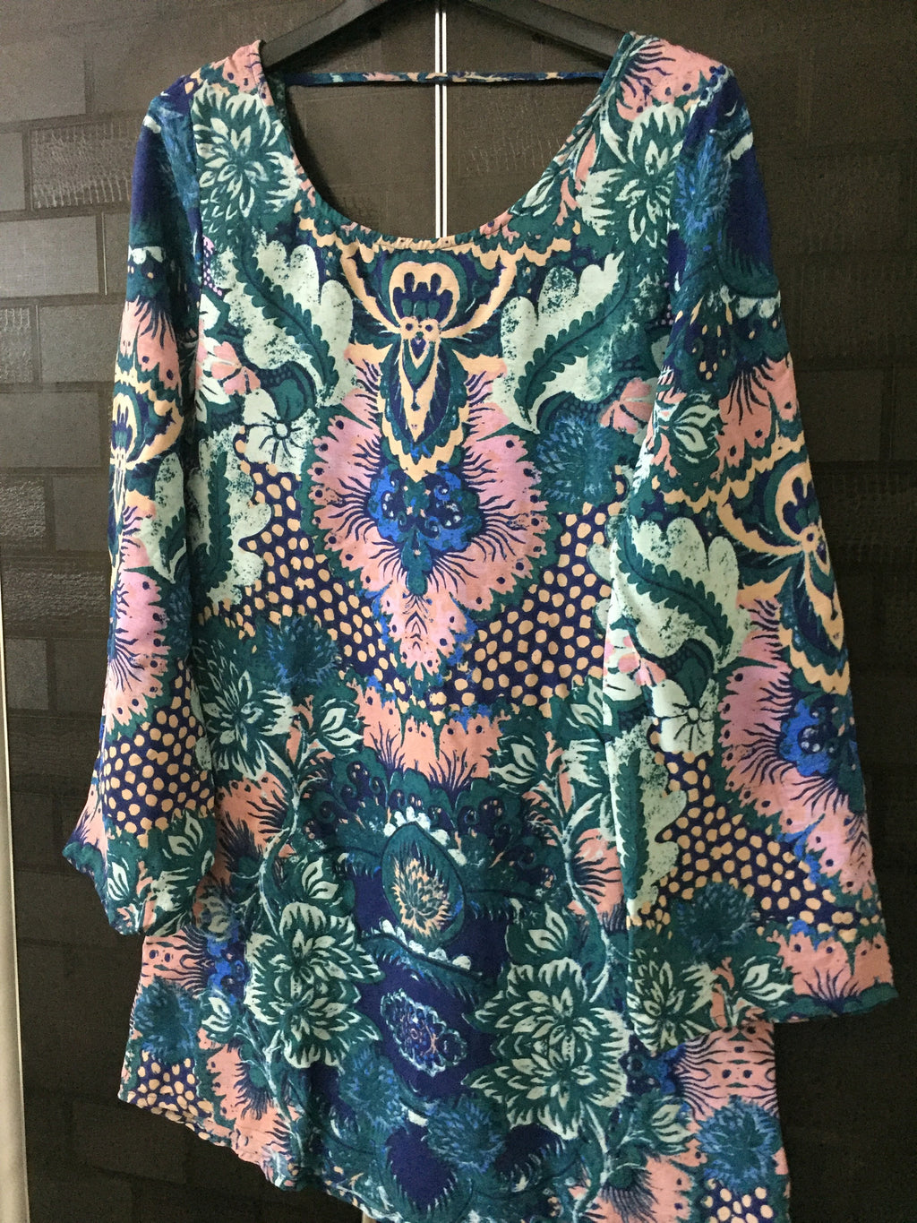 Vibrant Colors, printed Green Short Dress