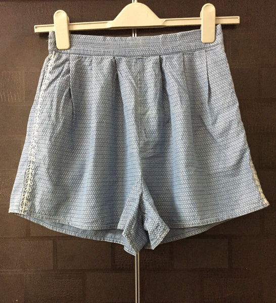 Blue Denim Shorts with Light Blue thread work - #FTFY - For The Fun Years