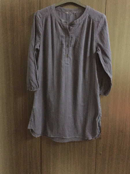 Navy Blue Plain Long Tunic / Top