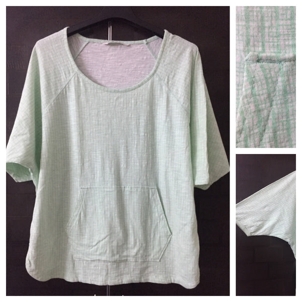 Green and White Little Checks Casual Top with 1 front Pocket