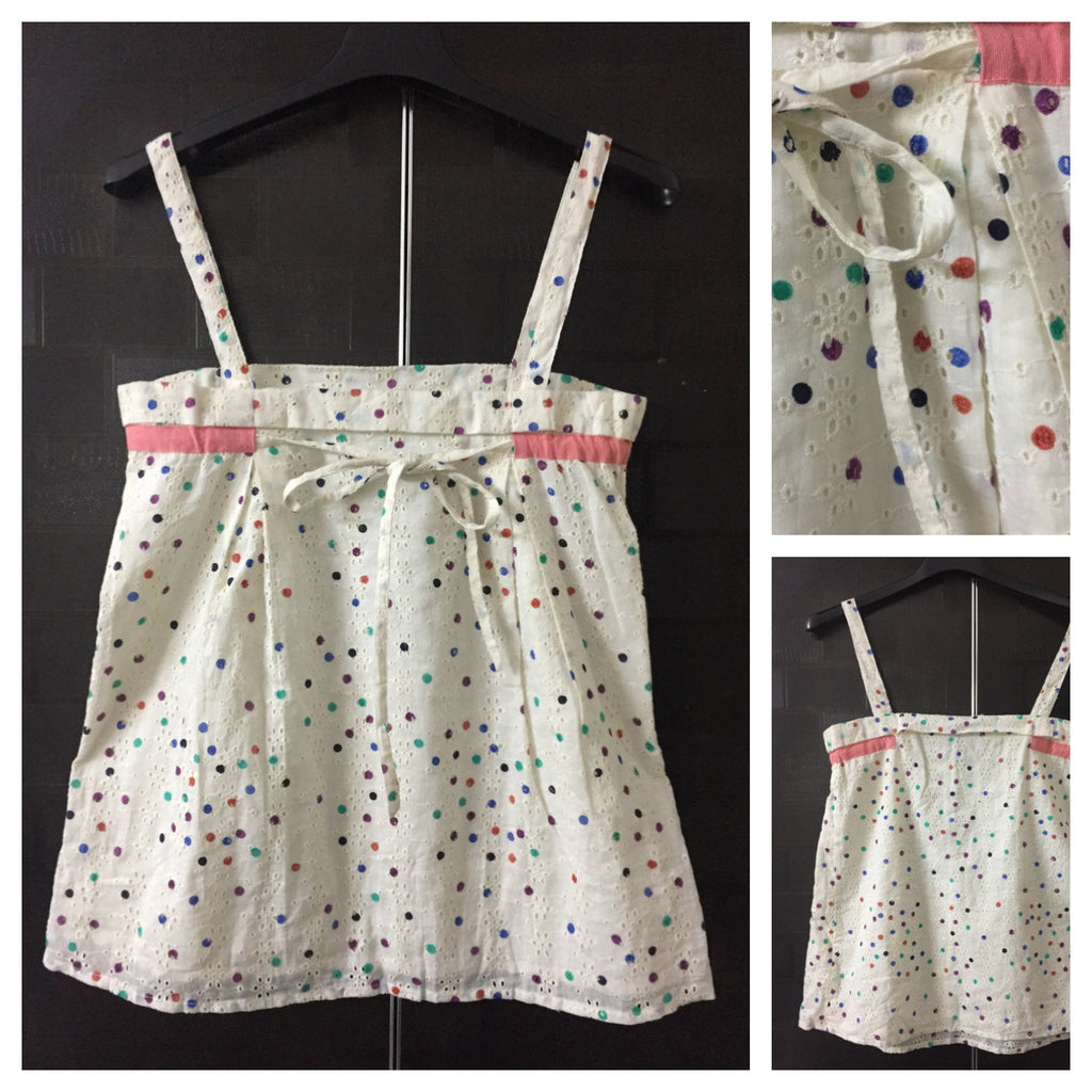 Cream Multi-color Polka Sleeveless Top with cut-work