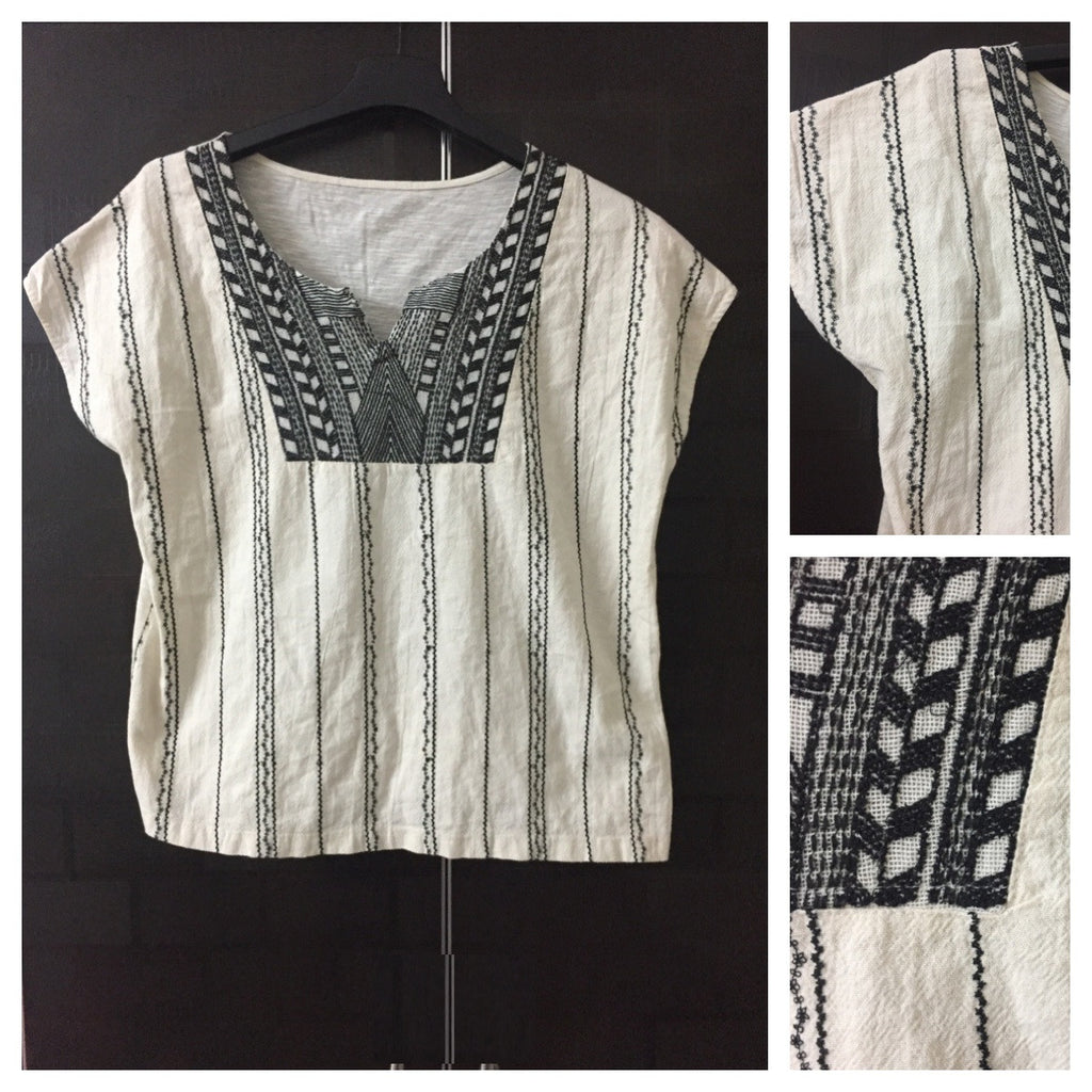 Cream Top with Black thread-work