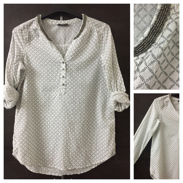 Printed White Top with Grey beads around neck