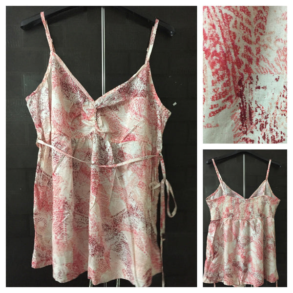 Printed Pink spaghetti Top with adjustable spaghetti Straps