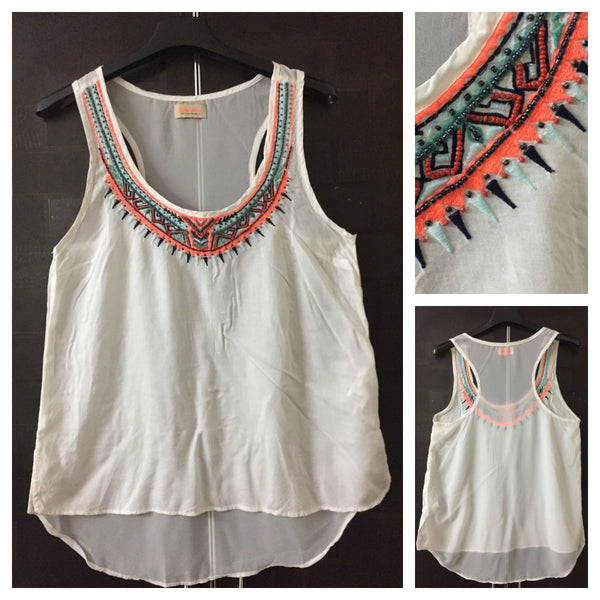 White Race rback Top with multicolor thread work