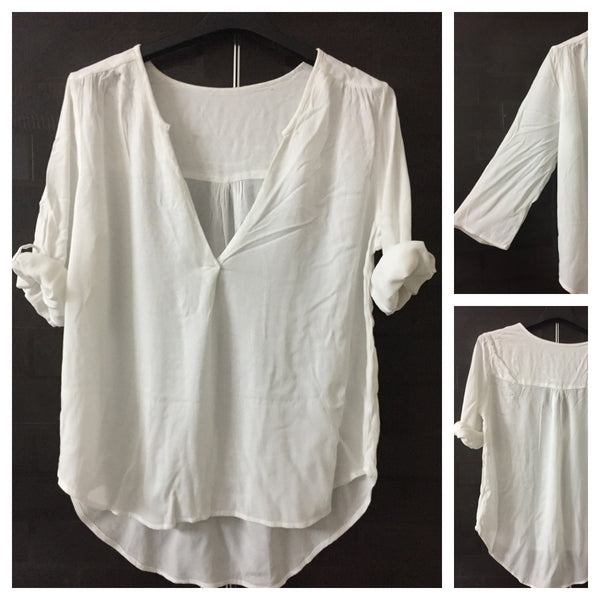 Simple White Top with V neck