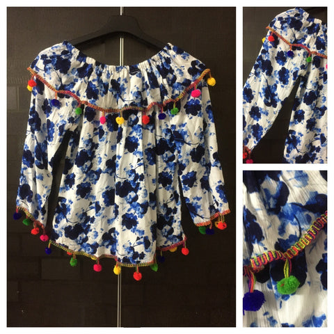 Colorful Pom-Poms, Vibrant Blue Flowers on White On-Off Shoulder Top