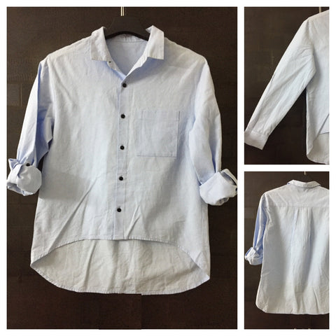 Stylish Hi-Low Light Blue Shirt with Black Buttons