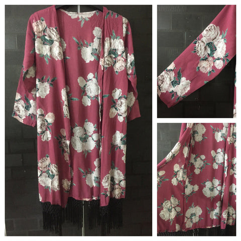 Black Tasseled, Cream and Green Flowers on Pretty Pink Long causal Shrug