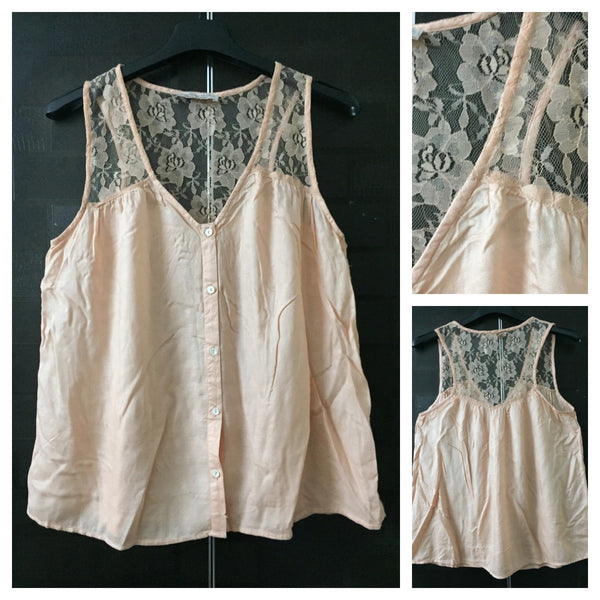Pretty Peach Sleeveless Shirt with Net on Shoulders