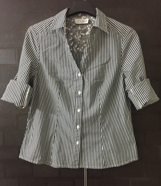 Grey and White Stripes, Casual Shirt
