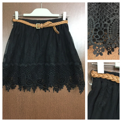 Black Net and Lace Skirt with Brown Belt
