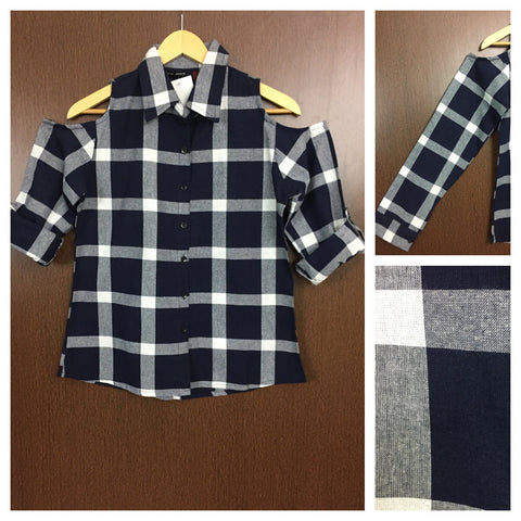 Checked Cold - Shoulder - Navy Blue and White Check Shirt