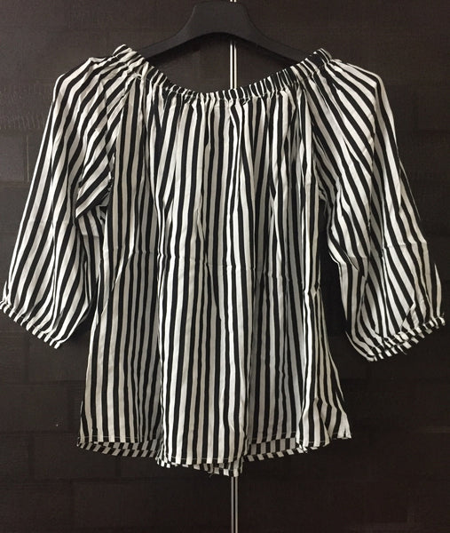 Stripes - Black and White Off shoulder top