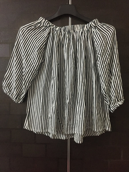 Stripes - Darkest Green and White Off shoulder top