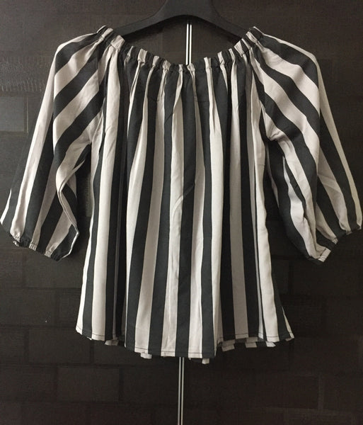 Stripes - Grey and Black Off shoulder top