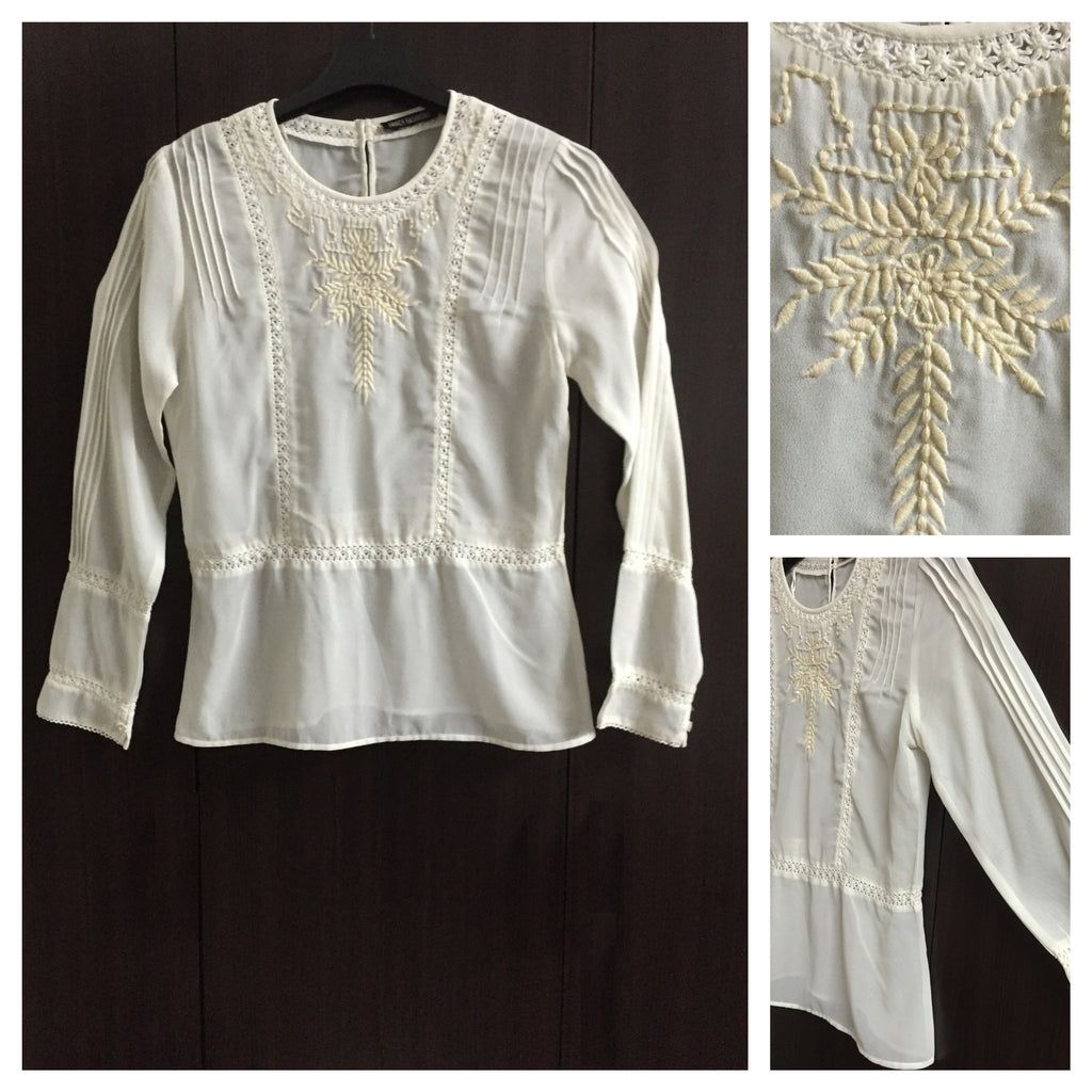 Off White Elegant Top with Light Brown Embroidery