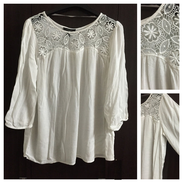 White Top with Flowers and Leaves Lace