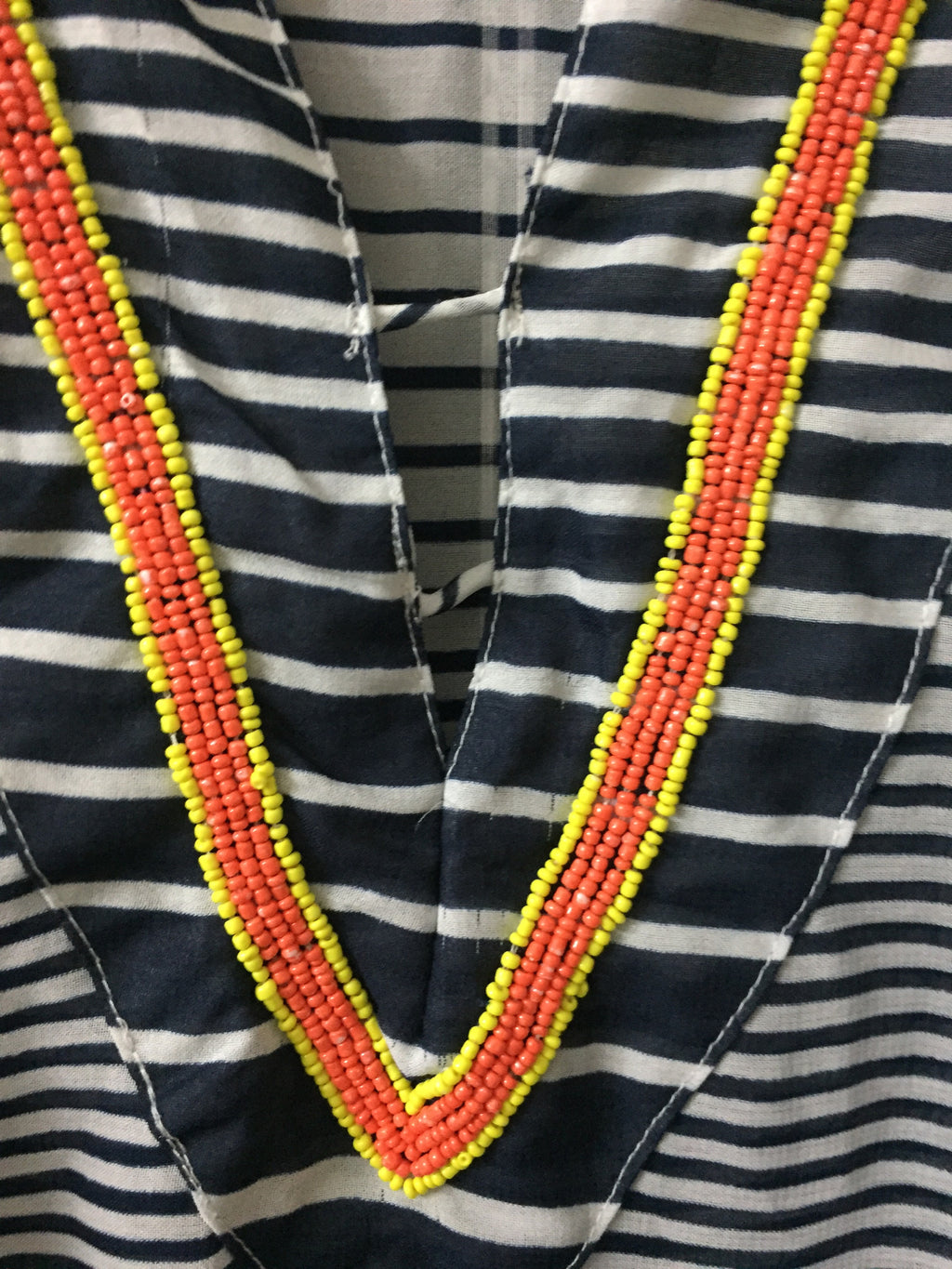 Orange and Yellow Beaded, Deep neck Kaftan