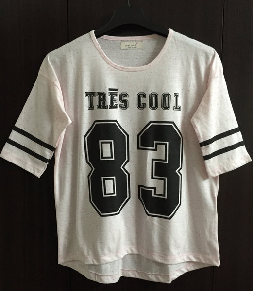 Tres Cool - Baby Pink & Black 83 Quarter Sleeves Tee.