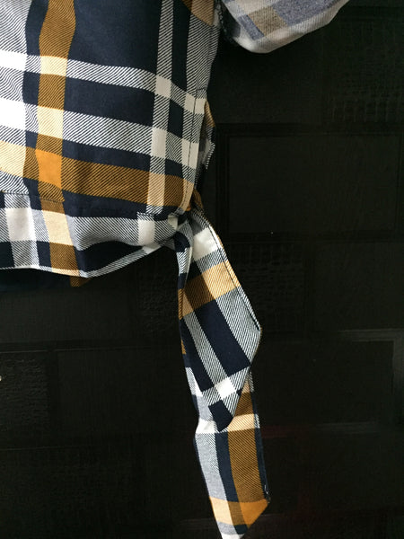 Crop Checks with Side Tie - Big -Yellow, Blue and White