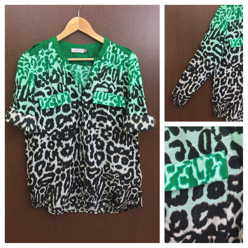 2 Colors Animal Printed Green Cream Shirt