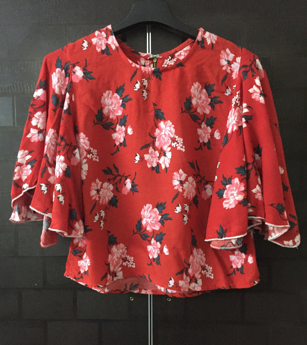 Fun Loose Sleeved, Floral Red Top with zipper on back.