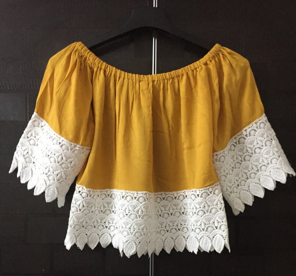 Mustard - Short, Off Shoulder Top with Broad lace